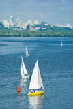 Big city and yachting. On a river Stock Photo