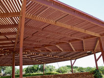 Big classical wooden pergola arbor Stock Photo