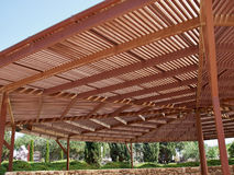 Big classical wooden pergola arbor Royalty Free Stock Image