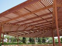 Big classical wooden pergola arbor Royalty Free Stock Image
