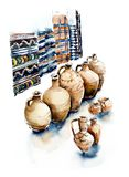 Eastern market. Georgia. Watercolor hand dawn illustration stock illustration