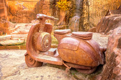 Big clay sculpture of motorcycle Royalty Free Stock Photos