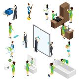 Big Cleaning isometric Pictograms Composition Poster Stock Images
