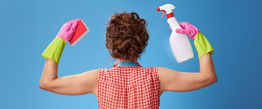 Woman with sponge and a bottle of detergent showing biceps. Big cleaning time. Seen from behind modern woman in a yellow apron with kitchen sponge and a bottle royalty free stock image