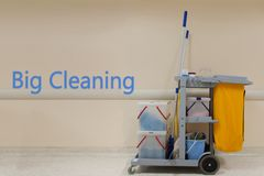 Big Cleaning word concept, Cleaning Cart in the hospital with wa. Ll background Stock Photography