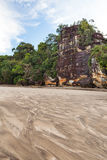 Big cliff lush jungle and sand Stock Photography