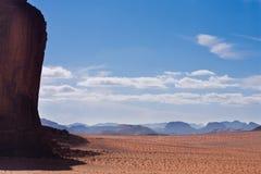 Big cliff in Wadi Rum, Jordan. Copy. Big mountain in foreground, smaller in the background. Wadi Rum desert reservation, Jordan stock photos