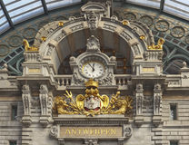 Big clock at the Central train station in Antwerp Royalty Free Stock Photos