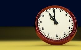 Big clock deadline rush time eleven o`clock 3D illustration. Eleven o`clock big clock rush watch yellow background 3D illustration royalty free illustration