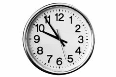 Big Clock Isolated. Big analog clock isolated black & white Royalty Free Stock Image