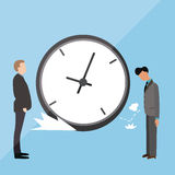Big clock late arrive at office boss angry blamed Royalty Free Stock Photo