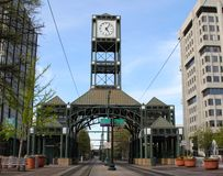 Big Clock On The Mall. Picture of a huge clock on the downtown shopping Mall in Memphis, Tennessee Stock Photography