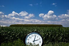 Big clock at noon in a green field. Horizontal front view of a big wall clock in a green field with blue sky and clouds Stock Photography