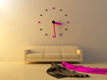 Big clock on sofa Stock Photography
