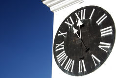 Big clock tower. On the Petrovaradin's fort on the right bank of Danube river Royalty Free Stock Photo