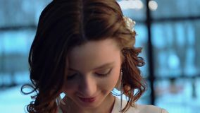 Big close up of beautiful woman, young and cheerful. Young tender bride stock video