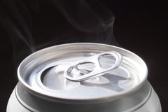 Big close-up. Freshly opened aluminum can for carbonated drinks beers stock photos