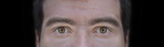 Big close up picture of brown eyes from young man with black background. Close stock images