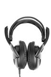 Big closed black earphones Stock Photos