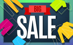 Big clothes sale banner design. Royalty Free Stock Image