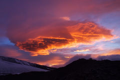 Big cloud. During sundown on mountain. Natural composition Royalty Free Stock Photography