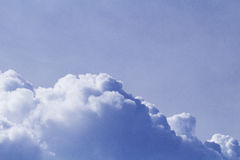 Big cloud on blue sky. Cloudscape photo background. Romantic skyscape with raincloud. Royalty Free Stock Photo