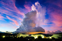 Big cloud over the night city Royalty Free Stock Images