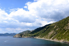 Big clouds in Cinque Terre, Italy Royalty Free Stock Photos