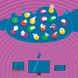 Big clouds. Devices synchronize data with a cloud storage stock illustration