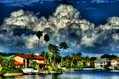 Big clouds over bay. Storm brewing over Naples Florida bay Stock Photo