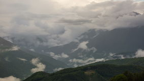 Big clouds over mountain peaks,Caucasus stock video footage
