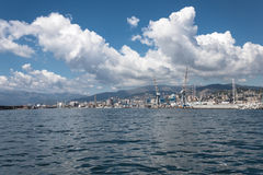 Big clouds over the port of Genoa, Italy Stock Photo