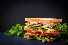 Big Club sandwich with ham, bacon, tomato, cucumber, cheese, eggs and herbs. On dark background Stock Photos