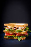 Big Club sandwich with ham, bacon, tomato, cucumber, cheese, eggs and herbs. On dark background stock photography