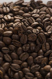 BIG COFFEE BEANS all over. Italian black COFFEE BEANS on the white background Royalty Free Stock Photo