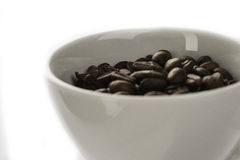 BIG COFFEE BEANS in white cup. Italian black COFFEE BEANS with cup Royalty Free Stock Photo