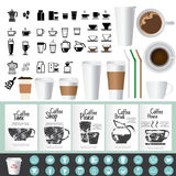 Big coffee and tea icons and Greeting Cards set Stock Image