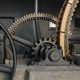 Big cogs of a cable car. Big cogs of the old Stanserhorn cable car Stock Image