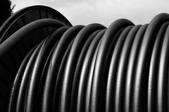 Big coil cord to the electrical infrastructure in the power plan Royalty Free Stock Photos