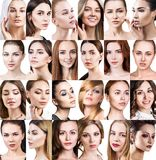 Big collage of different beautiful women. stock image