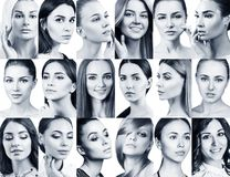 Big collage of different beautiful women. stock photo