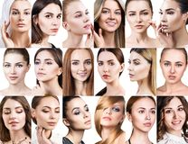 Big collage of different beautiful women. royalty free stock photo