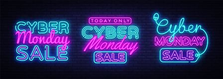 Big collectin neon signs for Cyber Monday. Neon Banner Vector. Cyber Monday neon sign, design template, modern trend Royalty Free Stock Photo