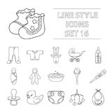 Big collection of baby born vector symbol stock illustration. Baby born set icons in outline design. Big collection of baby born vector symbol stock illustration royalty free illustration