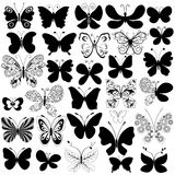 Big collection black butterflies Royalty Free Stock Photos