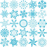 Big collection blue snowflakes (vector) Royalty Free Stock Images