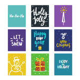 Big collection of bright Christmas or New Year card templates with drawings and brush lettering made in vector. Stock Images