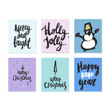 Big collection of bright Christmas or New Year card templates with drawings and brush lettering made in vector. Stock Photo