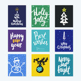Big collection of bright Christmas or New Year card templates wi Stock Photos