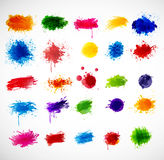 Big collection of Bright grunge splashes Stock Images
